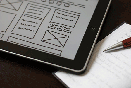 Wireframe, ipad, pencil, notebook